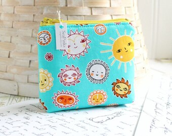 Small Coin Purse Change Purse Card Holder Sunshine Blue and Yellow Sun Zipper Pouch