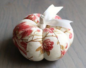 Red Floral Pumpkin Pincushion Pretty Red and Off White Floral Print
