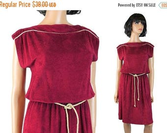 ON SALE Terry Cloth Dress S M Vintage 70s Dark Burgundy Red Fuzzy Cap Sleeve Rope Belt Free Us Shipping