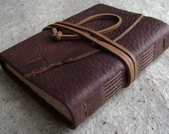 """Rustic leather journal, 4"""" x 6"""", old world journal, leather travel diary, leather sketchbook (2995)"""