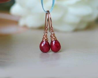 Ruby Teardrop Earrings | Rich Red Ruby Full Briolette | 14k Rose Gold Fill Dangles | Petite Earrings | July Birthstone Gift | Ready to Ship