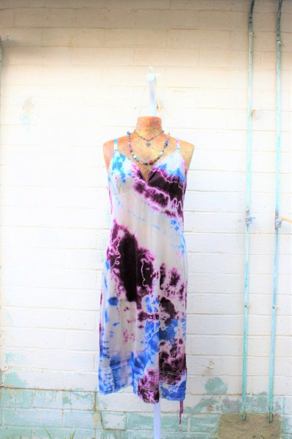 Large Romantic Tie Dye Vintage Slip/Blue and Purple Slip/Upcycled/Ecru Rustic Wedding/Upcycled cowgirl/Tattered Revolution/French Summer