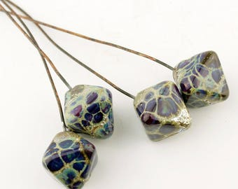 Lampwork Headpins, Rustic Glass Bead Head Pins on Antique Copper Wire, Blue, Silver,  Purple, Grey