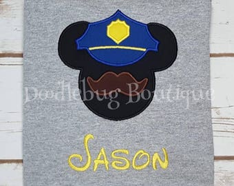 Police Mickey Mouse shirt with FREE name