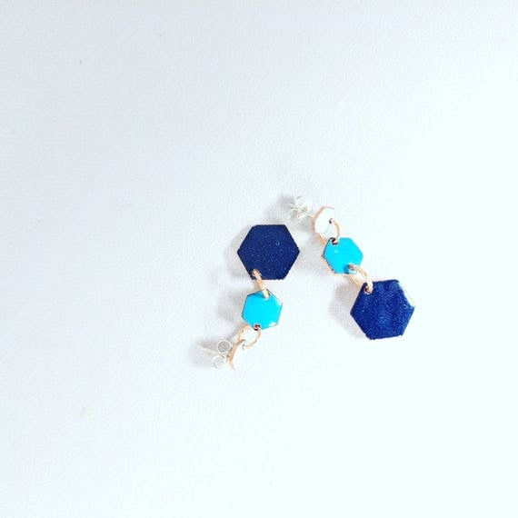 Shades of blue- hexagon dangle