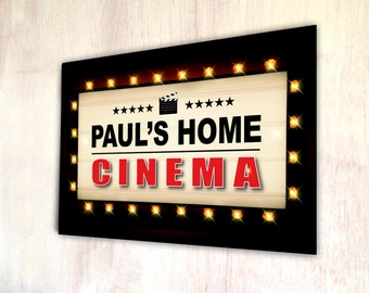 Personalised Home Cinema up in lights A4 metal plaque picture home deco Kitchens **ANY NAME**