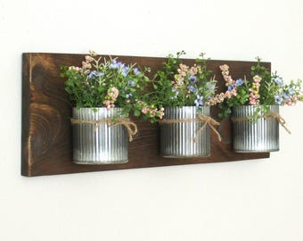 Industrial Farmhouse Wall Decor. 3 Zinc Corrugated Metal Pots on Stained Board..Office/Bathroom  Organizer Hanging Metal Pots.