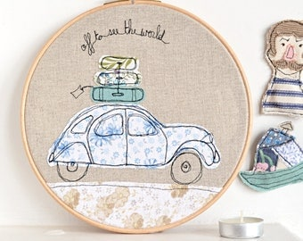 """Off to see the world - Personalised Embroidery Hoop Art - Textile Artwork of a 2CV car in blue - 8"""" hoop"""
