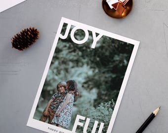 Joyful Holiday Cards, Christmas Cards, Elegant, Simple, Photography, Photo Card, Modern, Personalized, Holidays - Joyful Holiday Card