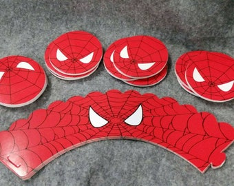 24 piece spiderman cupcake topper and wrapper.  Double sided