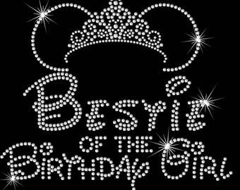 "9"" Minnie Mouse ears tiara  Bestie of the Birthday girl iron on rhinestone transfer"