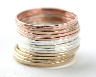 Set of 15 Tri-Color ultra Skinny Stacking Rings - hammered stacking set, Gold, silver, and Rose Gold stacking, 3 Color Set, trio color rings