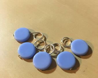 Pale blue stitch markers