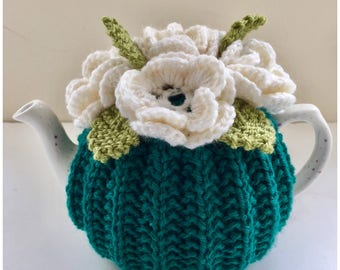 Hand-knitted Floral Tea Cosy in Pure Wool - Size Small fits standard 1-2 cup teapots