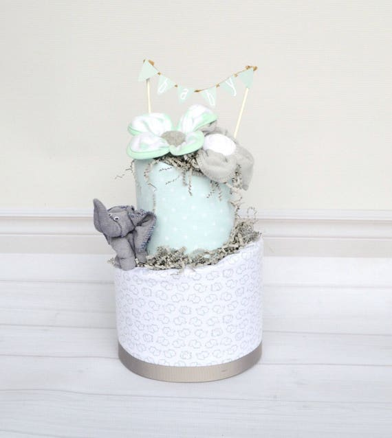 Elephant Baby Shower Decorations, Diaper Shower Cake, Mint Shower Baby, Elephant Shower Cake, Grey Elephant Shower Decor, Elephant Gift
