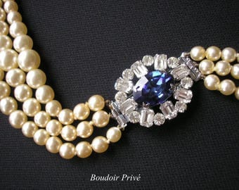 Sapphire and Pearl Choker, Pompadour Pearls, Pearl Necklace, Great Gatsby, Pearl Choker, Wedding Necklace, Bridal Jewelry, Deco, Montana