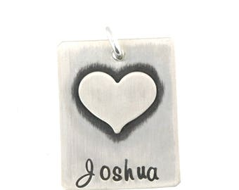 Sterling Silver Rectangle with Fused Heart