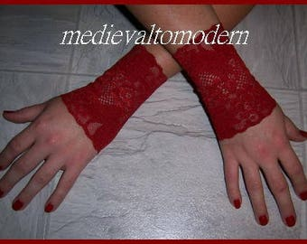 4 inch Pair of 2 Red Steampunk Gothic Victorian Gloves Lace Cuff NEW L XL