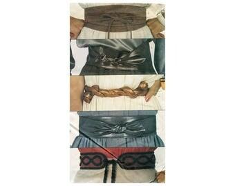 1980s Belts Pattern Obi Sash Wrap Belt Embroidered Tie Twist Belts Accessories Vogue 8252 Accessory Vintage Sewing Pattern