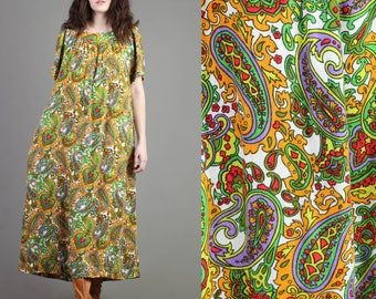 vintage 70s PAISLEY trapeze PSYCHEDELIC caftan dress one size fits most os / rainbow print hippie boho caftan maxi festival dress