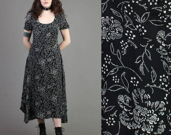 vintage 90s BLACK + FLORAL boho gypsy festival dress size small S / grunge goth babydoll maxi sun dress 40s