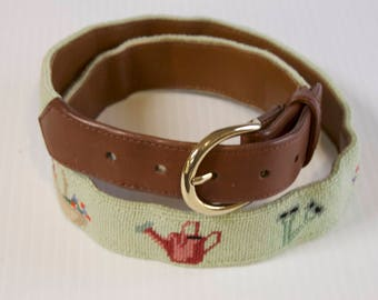 Vintage Unisex Belt - Mint Green Needlepoint Embroidered Leather Belt with Garden Supplies by The Village Ewe