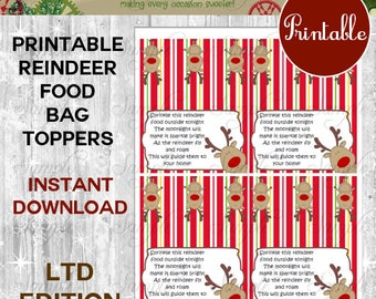 Magic Reindeer Food Printable Bag Toppers DIY Printable Digital PDF Instant Download