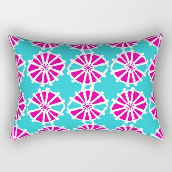 Magenta Lumbar Pillow . Toddler Pillow . Geometric Pillow . Aquamarine Cushion . Rectangle Pillow . Wheel Pillow . Travel Pillow 14 x 20