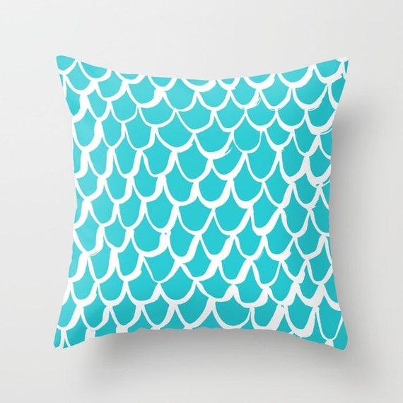 Aquamarine Mermaid Throw Pillow - Aquamarine Pillow - Aqua Cushion - Mermaid Pillow - Cyan Pillow - Coastal Cushion 16 18 20 24 inch