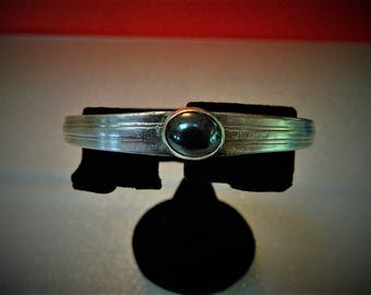 Hematite Cabochon and Vintage Sterling Silver Silverware Cuff Bracelet, CB7