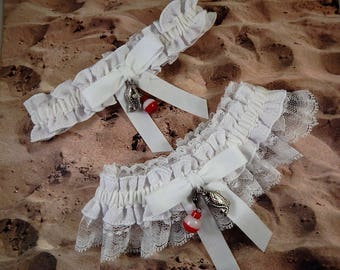 Fishing whiteLinen Look white Twill white lace Fish Bobber Charm Wedding Bridal Garter Toss Set