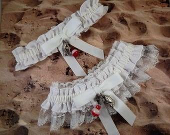Fishing whiteLinen Look white Twill white lace Fish Bobber Charm Wedding Bridal Garter Toss Set