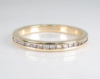 Channel Set Diamond Wedding Band – 17 Diamonds Total