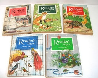Vintage Readers Digest Magazines, 1961, Collection Of Five