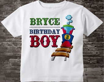 Boy's 3rd Birthday Train Shirt, Train Shirt, Personalized Train Birthday Conductor Tshirt with childs name and age 11122015g