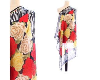 ROSES Print Scarf 90s Bold Flowers Printed ZEBRA Print Gauze Shawl Vintage Black Red Yellow Roses Muffle Bohemian Festival Girlfriend Gift