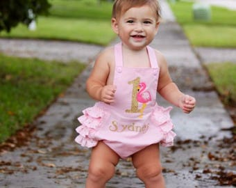 Flamingo First Birthday - Pink and Gold Flamingo First Birthday Sunsuit