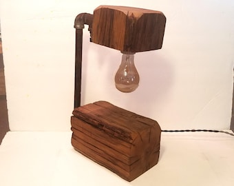 Rustic Industrial Salvaged Wood and Pipe Lamp Upcycled Recycled Salvaged Edison Bulb Dieselpunk Loft Decor Table Light Desk Lighting