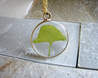 Ginkgo Necklace, Pressed Leaf Necklace, Pressed Flowers Necklace, Nature Lovers Jewelry, Botanical Jewelry