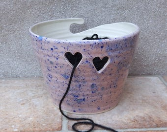 Yarn bowl knitting or crochet wool hand thrown pottery ceramic handmade wheelthrown cat