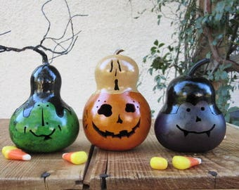 Halloween Gourd Ghost Top Jack O Lantern, Witch, and Vampire Primitive Pumpkin Decoration ( sold as a trio )