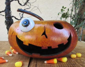 Halloween Gourd Jack O Lantern Primitive Pumpkin Decoration ( with removable eye )
