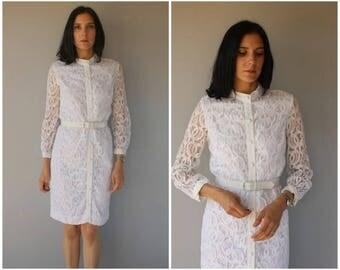 Vintage 1960s Dress   60s Dress   1960s Lace Dress   White Lace 60s Dress   City Hall 1960s Wedding Dress - small/medium