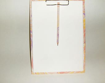 Marbled paper  notes + pencil, watermarked paper Amalfi,   Hand bounded Florentine style -   cm 33 x cm 23 - 1027B