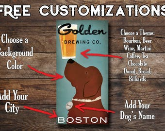 Custom Red GOLDEN RETRIEVER Brewing Company -  Craft Beer - CANVAS Wall Art