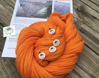 Ocean In the Moonlight Shawl KIT KAL Lusty Wench orange Bamboo Treasures Lace Yarn Pattern PDF Stitch Markers mango pumpkin merino silk yarn