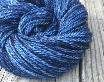 Hand Dyed Bulky Yarn Fathoms Deep Blue yarn 100% superwash merino wool 106 yards navy blue ocean dark bulky weight yarn treasure goddess