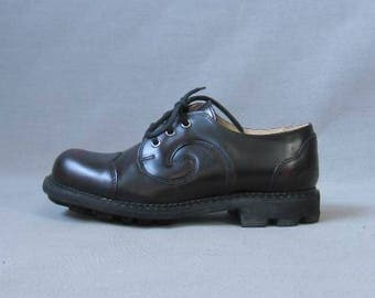Vintage Fluevog Angel Oxford Shoes Black Cherry Leather 7.5