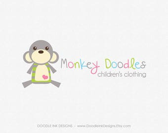 Monkey Logo, Etsy Logo, Premade Design Logo, Boutique Etsy Shop Set Logo, Business Branding Logo, Photography Logo, Kids, Animals Safari