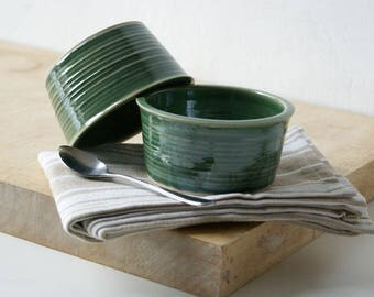 Set of two snack bowls in forest green - hand thrown pottery dishes